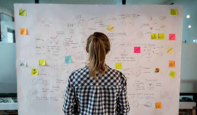 woman looking at marketing strategy board